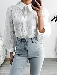 cheap -Women's Blouse Shirt Solid Colored Long Sleeve Lace Shirt Collar Tops Lantern Sleeve Slim Basic Basic Top White Blushing Pink Beige