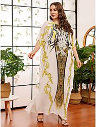 povoljno -Žene Shift haljina Maks haljina - Rukava do lakta Cvjetni print Geometrijski oblici Print Ljeto Jesen Ležerne prilike Elegantno Party Dnevno Rukav-krilo 2020 Obala One-Size