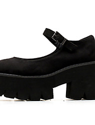 cheap -Women's Heels Wedge Heel Round Toe Casual Daily Nubuck Solid Colored Black / 3-4