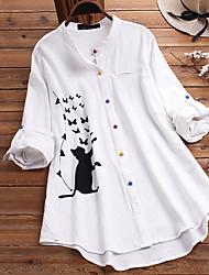 cheap -Women's Blouse Shirt Animal Long Sleeve Button Round Neck Tops Loose Basic Basic Top White Brown