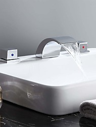 cheap -Bathroom Sink Faucet - Waterfall Chrome Widespread Two Handles Three HolesBath Taps / Brass