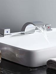 cheap -Bathroom Sink Faucet - Waterfall Chrome Widespread Two Handles Three HolesBath Taps / Brass