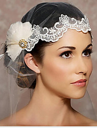 cheap -One-tier Love Wedding Veil Fingertip Veils with Appliques / Crystals / Rhinestones Tulle