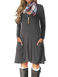 cheap -women's plus size casual long sleeve loose pocket dress royal blue m