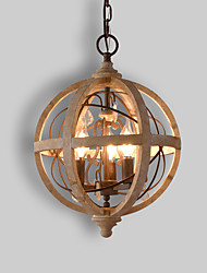 cheap -3-Light 30 cm Candle Style Tree Chandelier Wood / Bamboo Candle-style Globe Drum Wood Vintage Traditional / Classic 110-120V 220-240V