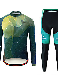 cheap -Miloto Men's Long Sleeve Cycling Jersey with Tights Black / Green Bike Clothing Suit Breathable Ultraviolet Resistant Sports Patterned Mountain Bike MTB Road Bike Cycling Clothing Apparel / Stretchy