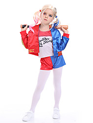 cheap -Harley Quinn Joker Cosplay Costume Outfits Girls' Movie Cosplay Active Blue Coat Pants T-shirt Halloween Children's Day Masquerade Polyester