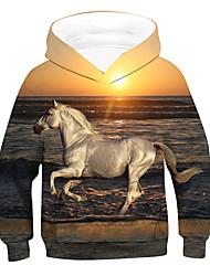 cheap -Kids Boys' Hoodie & Sweatshirt Long Sleeve 3D Animal Drawstring Gold Children Tops Active Basic Children's Day