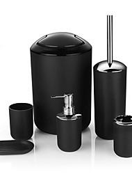 cheap -6pcs/set Printing Bathroom Accessory Set Lotion Dispenser Toothbrush Holder Tumbler Cup Soap Dish Toilet Brush Trash Can