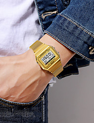 cheap -SKMEI Men's Sport Watch Digital Modern Style Stylish Outdoor Calendar / date / day Digital Black Gold Silver / One Year / Stainless Steel / Chronograph / Stopwatch