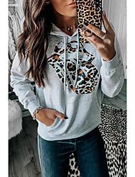 cheap -Women's Pullover Hoodie Sweatshirt Print Basic Hoodies Sweatshirts  Gray