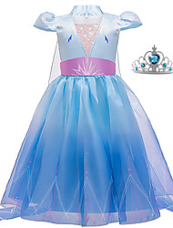 cheap -Frozen Dress Cosplay Costume Girls' Movie Cosplay Vacation Dress Halloween Blue Dress Wand Halloween New Year Polyester / Cotton Polyester