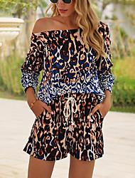 cheap -Women's Basic Set Loose Long Leopard Lace up Pant One Shoulder