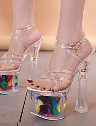 cheap -Women's Dance Shoes Pole Dancing Shoes Heel Buckle Thick Heel White / Green White Buckle