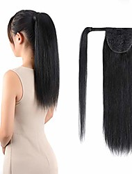 cheap -ponytail extensions real human hair clip in 16 inches 65g jet black color straight drawstring warp around ponytail hair piece remy human hair for women