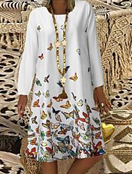cheap -Women's A Line Dress Knee Length Dress Blue Yellow Blushing Pink White Long Sleeve Print Print Fall Round Neck Hot Casual Holiday Loose 2021 S M L XL XXL 3XL 4XL 5XL