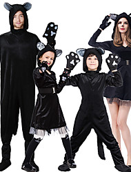 cheap -Cat Cosplay Costume Outfits Group Costume Kid's Adults' Men's Cosplay Halloween Halloween Festival / Holiday Plush Fabric Black Men's Women's Easy Carnival Costumes