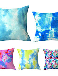 cheap -Set Of 5 Square 45x45CM New Tie-dye Technology Cushion Cover Soft Pillowcase Polyester Plush Pillow Case Throw Waist Home Decoration