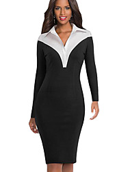 cheap -Women's A-Line Dress Knee Length Dress - Long Sleeve Solid Color Patchwork Zipper Fall Winter Shirt Collar Elegant Party Slim 2020 Black Blue S M L