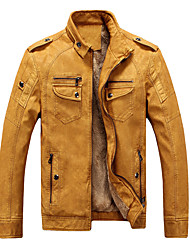 cheap -Men's Fall Stand Collar Faux Leather Jacket Regular Solid Colored Daily Punk & Gothic Long Sleeve Black Blue Yellow Brown M L XL XXL / Winter