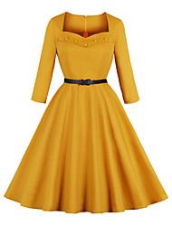 cheap -Women's Swing Dress Knee Length Dress Half Sleeve Solid Color Zipper Patchwork Print Fall Vintage Cotton 2021 Yellow XS S M L XL XXL