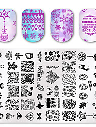 cheap -1 pcs 3D Nail Stickers  Nail Art Printing Template Christmas Printing Steel Plate Square Template MR Series