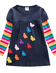 cheap -Kids Little Girls' Dress Butterfly Rainbow Striped Patchwork Causal Embroidered Pocket Fake two piece Fuchsia Royal Blue Knee-length Long Sleeve Active Floral Cute Dresses Children's Day