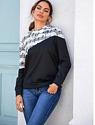 cheap -Women's Pullover Hoodie Sweatshirt Striped Music Casual Hoodies Sweatshirts  Black