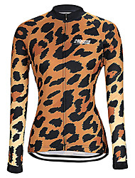cheap -21Grams Women's Long Sleeve Cycling Jersey Winter Spandex Polyester Black / Orange Purple Red Leopard Bike Jersey Top Mountain Bike MTB Road Bike Cycling Thermal / Warm Breathable Quick Dry Sports