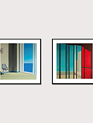 cheap -Framed Art Print Framed Set 2 Morandi Color Abstract Seascape Canvas Wall Art Stretch Ready To Hang