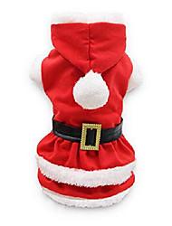رخيصةأون -الحيوانات الأليفة الكلب عيد الميلاد زي فتاة عيد الميلاد اللباس جرو سانتا كلوز القمصان للكلاب الصغيرة ، كبيرة