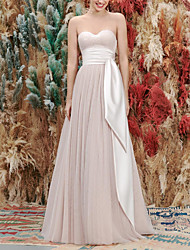 cheap -A-Line Wedding Dresses Sweetheart Neckline Floor Length Satin Tulle Sleeveless Simple Sexy with Ruched Draping 2020