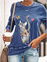 cheap -Women's Blouse Shirt Cat Long Sleeve Print Round Neck Tops Basic Basic Top Black Blue Green