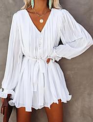 cheap -Women's A-Line Dress Short Mini Dress - Long Sleeve Solid Color Fall Elegant 2020 White S M L