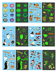 cheap -Halloween Party Toys Tattoo Stickers 24 pcs Cartoon Face Waterproof Glow in the Dark Paper Kid's Adults Trick or Treat Halloween Party Favors Supplies