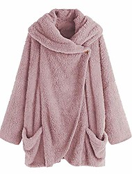 cheap -womens turtleneck plush coat,upgrade long sleeve button cotton jacket warm slim cloak outwear boho tops plus size(pink 2,l)