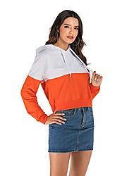 cheap -Women's Pullover Hoodie Sweatshirt Color Block Basic Hoodies Sweatshirts  Orange