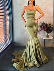 cheap -Mermaid / Trumpet Minimalist Sexy Wedding Guest Formal Evening Dress Spaghetti Strap Sleeveless Court Train Stretch Satin with Pleats 2021