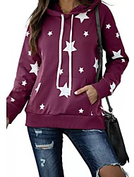 cheap -Women's Daily Pullover Hoodie Sweatshirt Star Front Pocket Casual Hoodies Sweatshirts  Loose Black Blushing Pink Wine
