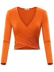 povoljno -ženske duge rukave s dugim rukavima jedinstvene košulje za vitke košulje od košulje usjeva narančaste