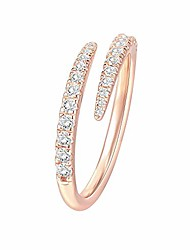 cheap -14k gold plated sterling silver cubic zirconia open twist eternity band rose gold for women Adjustable opening