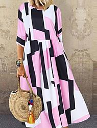 povoljno -Žene Shift haljina Maks haljina - Rukava do lakta Cvjetni print Ljeto Vintage Boho 2020 Obala Blushing Pink XL XXL XXXL