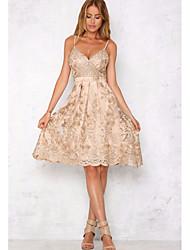 cheap -Women's Swing Dress Knee Length Dress Sleeveless Floral Embroidered Fall Hot Sexy 2021 Gold S M L XL