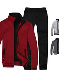 cheap -Men's Full Zip Tracksuit Sweatsuit Jogging Suit Casual Long Sleeve Winter Fleece Thermal Warm Fleece Lining Warm Fitness Running Jogging Sportswear Solid Colored Plus Size Clothing Suit Jacket