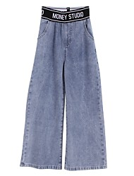 cheap -Kids Girls' Basic Blue Solid Colored Jeans Blue