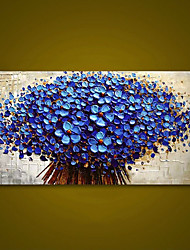 cheap -Unframed Panel Dark Blue Flower Tree Thick Palette Knife Painting Home Decor Hand Painted Oil Painting Wall Art Picture Gift Rolled Without Frame
