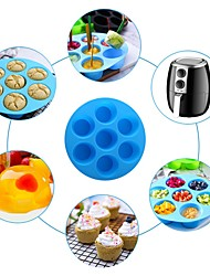 cheap -Food Grade Silicone 7 Hole Round Mold Cake Grid Egg Steam Mold Air Fryer Accessories Safe and Harmless