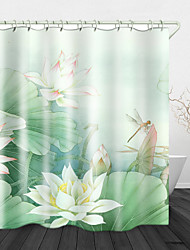 cheap -Beautiful White Lotus Digital Print Waterproof Fabric Shower Curtain for Bathroom Home Decor Covered Bathtub Curtains Liner Includes with Hooks