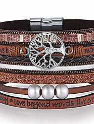 cheap -grandma gifts from granddaughter grandson wrap around boho buckle stacking multilayer leather wide magnetic layered bracelet,tree of life bracelets christmas gifts for women mom grandma