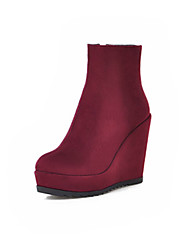 cheap -Women's Boots Wedge Heel Round Toe Classic Daily Solid Colored Nubuck Booties / Ankle Boots Black / Burgundy / Blue